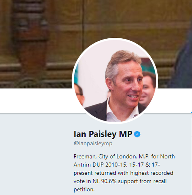 Ian Paisley updated his Twitter bio to include the recall petition result