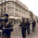 Soldiers patrolling the streets of Belfast during the Troubles