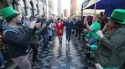Ceilidh dancing on Skipper street during Belfast Culture night. (Photo by Colm O'Reilly, Belfast Telegraph)