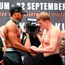 Shake on it: Joshua and Povetkin at the weigh-in