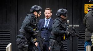 Martin Compston filming the latest Line of Duty episodes at the Obel building in Belfast