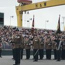 The Royal Irish Regiment receive their new colours on the Titanic Slipways in Belfast (Rebecca Black/PA)