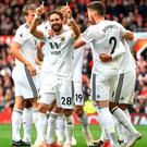 Joao Moutinho celebrates equalising for Wolves against Manchester United.