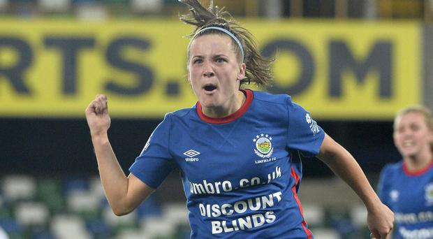 Linfield's Megan Bell celebrates scoring the opener in the 2018 Irish Cup final.