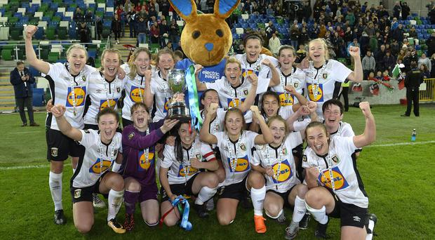Glentoran Women celebrate their seventh Challenge Cup success.