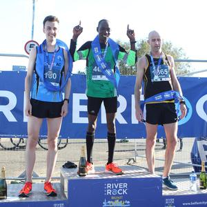 Gideon Kimosop, Vincent McAllister and Karl Duggan finish first second and and third. Picture: Matt Bohill, Pacemaker Press.