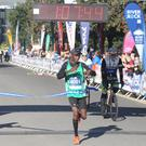 Gideon Kimosop wns the half marathon. Picture by Matt Bohill, Pacemaker Press.