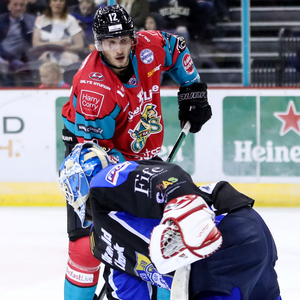Two goals: Kyle Baun in action for the Giants last night