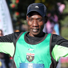 High point: Belfast half marathon winner Gideon Kipsang crosses the line