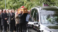 Family and Friends carry the coffin of Robert Campbell following a funeral service in Ballyclare, the 24 year-old was killed during the recent storms while out working. Pic by Peter Morrison