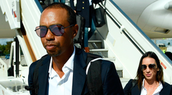 He's back: Tiger Woods arrives in Paris ahead of the Ryder Cup this weekend