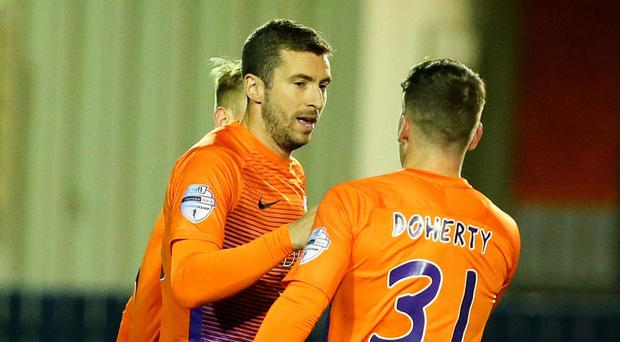Stephen Murray's penalty has helped send Glenavon to the top of the table. Photo Alan Weir/Pacemaker Press