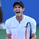 Making progress: Andy Murray will take on David Goffin after getting the better of Zhang Zhizhen