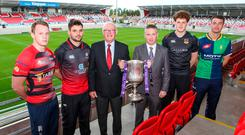 Cup draw: Jonathan Morton (Armagh RFC), Paul Pritchard (Rainey OB), Stephen Elliott, president of the Ulster Branch, James Beattie of First Trust Bank, Matthew Norris (Ballymena) and Conal Boomer (Ballynahinch RFC) attend the draw for the semi-finals of the First Trust Ulster Senior Cup