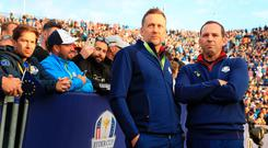 PARIS, FRANCE - SEPTEMBER 28: Ian Poulter of Europe and Sergio Garcia of Europe stand on the first tee during the morning fourball matches of the 2018 Ryder Cup at Le Golf National on September 28, 2018 in Paris, France. (Photo by Andrew Redington/Getty Images)
