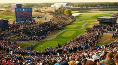The first tee was surrounded by around 7,000 fans for the beginning of the 42nd Ryder Cup.