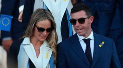 Team Europe's Rory McIlroy and wife Erica Stoll during the Ryder Cup Opening Ceremony