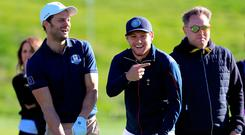 Team Europe's Jamie Dornan (left) and Niall Horan (right) enjoy a bit of craic during the 2018 Ryder Cup Celebrity Match at Le Golf National.