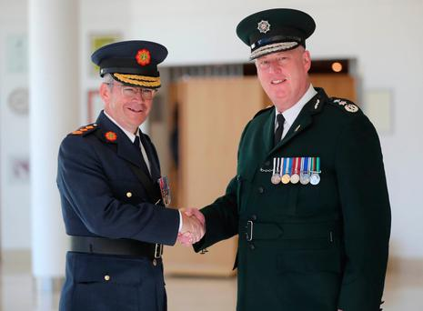 Garda Commissioner Drew Harris and PSNI Chief Constable George Hamilton before the service at the Waterfront Hall, Belfast for National Police Memorial Day to honour police officers who have died or been killed in the line of duty. PRESS ASSOCIATION Photo. Picture date: Sunday September 30, 2018. Photo credit should read: Niall Carson/PA Wire