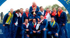 Bjorn supremacy: Europe captain Thomas Bjorn (centre) with his victorious Ryder Cup team in Paris yesterday
