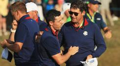 Rory McIlroy has backed one of Thomas Bjorn's Vice-Captains Padraig Harrington to step up to the big job at Whistling Straights.