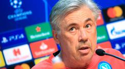 Napoli's Italian coach Carlo Ancelotti addresses a press conference on the eve of the UEFA Champions League Group C football match against Liverpool