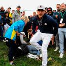 Wayward shot: Brooks Koepka after the incident where a woman was injured during the Ryder Cup