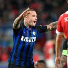 On target: Radja Nainggolan celebrates his goal for Inter