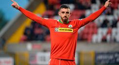 Top man: Joe Gormley celebrates