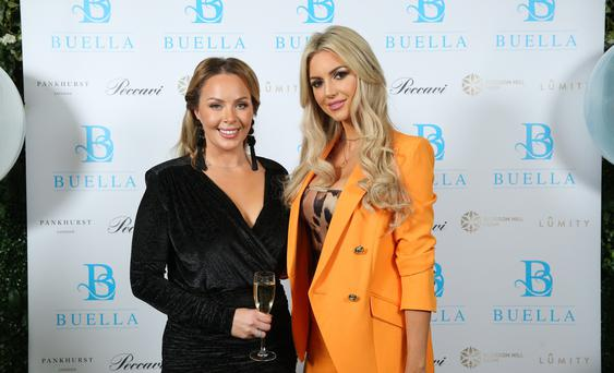 Press Eye - Belfast - Northern Ireland - 4th October 2018 - Gemma Garrett hosted an exclusive party in Belfast to launch her new online venture Buella Life. The former Miss Great Britain welcomed leading figures from the health, wellness and lifestyle world to the event at the Merchant Hotel. Attendees included former Miss World, Rosanna Davison, Irish and Ulster rugby player Jordi Murphy, leading PR man Keith Bishop and a host of local TV and media personalities. Gemma Garrett is pictured with former Miss World, Rosanna Davison at the Merchant Hotel event. Photo by Kelvin Boyes / Press Eye.