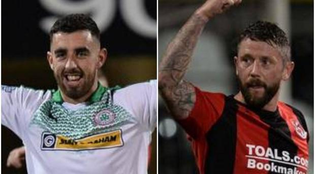 Joe Gormley (left) became Cliftonville's record scorer but saw his side lose the north Belfast derby to Crusaders on Friday evening.