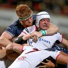Held up: Connacht's Sean O'Brien gets to grips with Ulster skipper Rory Best