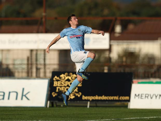 Ballymena's Andrew McGrory scores his side's third goal against Newry in the Danske Bank Premiership game at Warden Street. Picture by Dessie Loughery/Pacemaker Press