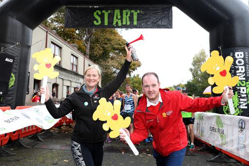Cultra National Museums NI and Children's Heartbeat Trust 5k and 10k - 7th October 2018. Geraldine Nolan, Chairperson of the Charity Committee at National Museums NI and Gareth McGreevy, Children's Heartbeat Trust Fundraising Officer, at the start of the Cultra Charity Challenge (Sunday 7th October). Around 500 athletes of all abilities tackled the 5km and 10km tracks around the Ulster Folk & Transport Museum in aid of the Children's Heartbeat Trust. The Challenge was hosted by National Museums NI, a charity partner of the Children's Heartbeat Trust, and was organised by Born2Run. Geraldine Nolan said: