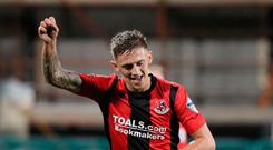 Matt finish: Matthew Snoddy punches the air with delight after hitting the winner for Crusaders last night