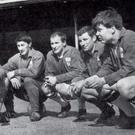 Then Arsenal captain Terry Neill (second right) talks with Northern Ireland team-mates before a game against Wales. From left: Martin Harvey (Sunderland), Jimmy Nicholson (Huddersfield Town), John Parke (Sunderland), Jimmy Magill (Brighton), Terry Neill (Arsenal), Alex Elder (Burnley).