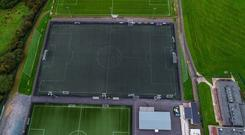 Lurgan Town's main playing surface, which will be replaced after their funding boost.