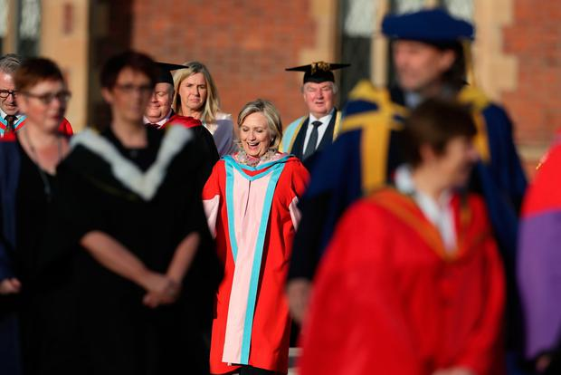 Hillary Clinton at Queen's University Belfast where she is to be awarded an honorary degree. Brian Lawless/PA Wire