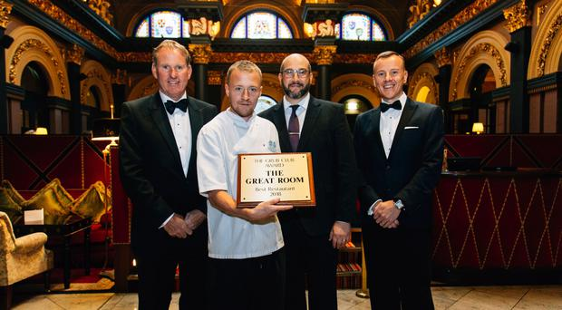 Pictured L-R: Stephen Warke, President of the Grub Club; John Paul Leake, Executive Chef, The Merchant Hotel; Mauro Zanza, restaurant manager, The Great Room Restaurant; Glenn Branney from the Grub Club.