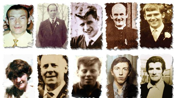 Undated Ballymurphy Massacre Committee handout file photos of (left to right top row) Joseph Corr, Danny Taggart, Eddie Doherty, Father Hugh Mullan, Frank Quinn, Paddy McCarthy, (left to right, bottom row) Joan Connolly, John McKerr, Noel Philips, John Laverty and Joseph Murphy, gunshot victims of the Ballymurphy massacre in west Belfast.