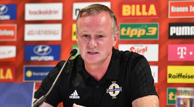 Northern Ireland Manager Michael O'Neill during a press conference at the Ernst Happel Stadium in Vienna, ahead of Northern Ireland's UEFA Nations League match against Austria on Friday evening. Photo Colm Lenaghan/Pacemaker Press