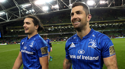 Oozing quality: Rob Kearney (right), with team-mate James Lowe, believes that Leinster can retain the Champions Cup