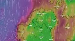A weather warning for wind is in place until midnight / Credit: Windy.com