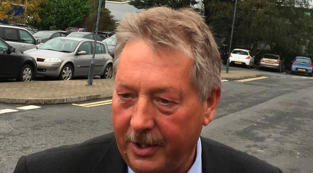 DUP Brexit spokesman Sammy Wilson arriving for the meeting with Stormont Assembly members and MPs from the DUP in Portadown in Co Armagh to discuss the Brexit negotiations. Pic: Michael McHugh/PA Wire
