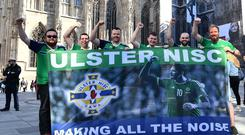 Northern Ireland Fans From L-R Jonny Lavery , Kyle Morton, Pete Stewart , Jordan King, Will Irvine and Ryan Costley in Vienna, ahead of Northern Ireland's UEFA Nations League match against Austria on Friday evening. Photo Colm Lenaghan/Pacemaker Press