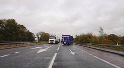 The A1 near Dromantine has been closed. Credit: PSNI