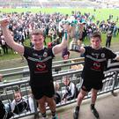 Leading men: Joint captains Darragh O'Hanlon and Darryl Branagan after Kilcoo's win over Burren at Pairc Esler last year