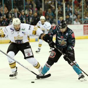 14 October 18, Mandatory Credit ©Press Eye/Darren Kidd Belfast Giants' Francis Beauvillier against Nottingham Panthers' Guillaume Lepine during Sundays Elite Ice Hockey League game at the SSE Arena, Belfast.