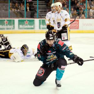 Beau for goal: Belfast Giants ace Francis Beauvillier celebrates after stunning the Nottingham Panthers