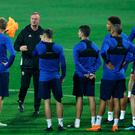 Northern Ireland manager Michael O'Neill speaks to his squad as they prepare to face Bosnia & Herzegovinia at the Grbavica Stadium.